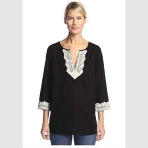 NYDJ Black White Embroidered Tunic w/Fit Solution